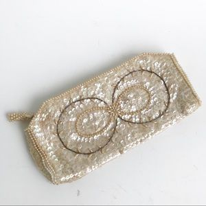 Vintage Beaded Ivory Clutch Purse Sequins